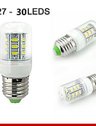 1 pc E26 / E27 7W 30smd5730 550LM bianco caldo / bianco naturale lampadine mais decorativi 110V / 220V