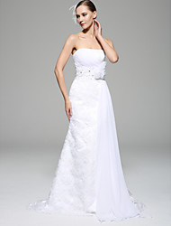 Sheath/Column Wedding Dress - White Court Train Strapless Chiffon / Lace