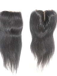 "Virgin Brazilian Straight Human Hair Lace Closure 130% 1B 3.5*4 Inch Free Middle Part Remy Top Closures 10""-20"""