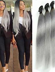 """nuevos llegada 3pcs / lot 12 """"-26"""" cabello humano de color gris virgen pelo lacio pelo sin transformar brasileño teje la venta caliente"""
