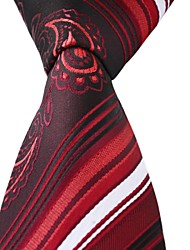 Red White Black Stripes Men Business Leisure Career Necktie