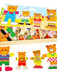 Puzzles Puzzles 3D / Puzzles en bois Building Blocks DIY Toys Bois Rouge / Bleu / Jaune / Vert Puzzle Toy