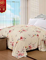 Four Seasons 100% Cotton Wedding Comforter Pink Home Textile Silk Quilt Jacquard Silk Blanket Wedding Bedding Sets