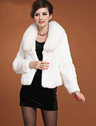 Women's Solid Color White / Black Coats & Jackets , Casual / Party V-Neck Long Sleeve Imitation of fox collars Plus size
