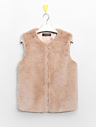 Women's Fashion Faux Fur Long Sleeve Vest