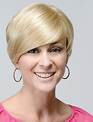 "Glamour Short Smooth Straight Human Hair Monofilament Top(1"")Lady Capless Wig Makes You Outstanding"