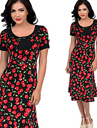 Melos Women's Print Red / Black / Green Dresses , Sexy / Bodycon / Casual / Print / Party Round Short Sleeve