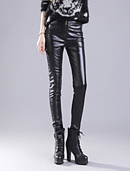 Women PU Pants , Belt Not Included, Plus Size
