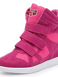 Suede Fashion Wedges Sneakers,Genuine leather 4-styles,Three Velcro Size 33~40,Height Increasing 6cm,Women's Shoes