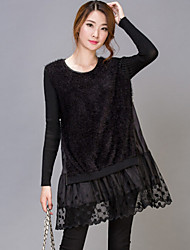 Women's Work Plus Size Dress,Patchwork Round Neck Above Knee Long Sleeve Black Fall