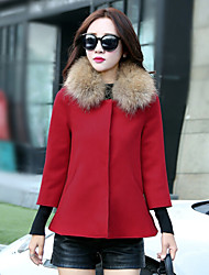 Women's New Fashion Fur Collar Solid Cape Coat , Casual / Work ¾ Sleeve Tweed