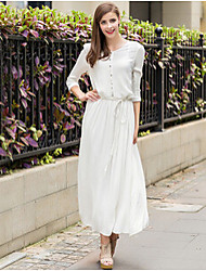 Women's Solid Color White Dresses , Casual Round ¾ Sleeve