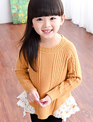 Girl's Round Collar Stripes Knitwear Stitching Lace Sweater