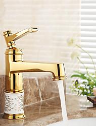 Bathroom Sink Faucet Ti-PVD Finish Single Handle Centerset Faucet