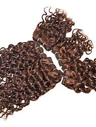 бразильские Remy свободные вьющиеся волосы волна расширений 5 шт необработанный 200г / комплект девственные расширений человеческих волос