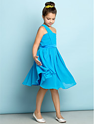 Lanting Bride Knee-length Chiffon Junior Bridesmaid Dress - Mini Me A-line One Shoulder with Side Draping