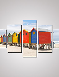 5 Panels  Wooden Houses By the Beach  Picture Print on Canvas Unframed