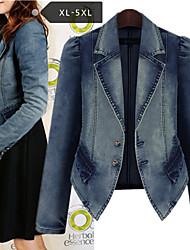Повседневный / Деловая - ЖЕНЩИНЫ - Пальто и жакеты ( Джинса V-образный - Длинный рукав