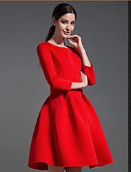 Robes ( Coton / Polyester ) Sexy / Informel Rond à Manches longues pour Femme