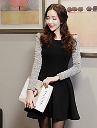 Women's Patchwork Black Dress , Casual Round Neck Long Sleeve
