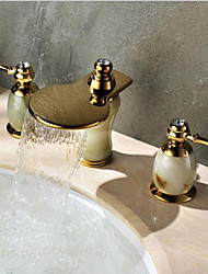 Waterfall Bathroom Faucet Lavatory Vessel Sink Three Hole Golden Faucet