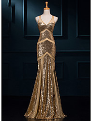 Formal Evening Dress - Gold Trumpet/Mermaid V-neck Floor-length Sequined
