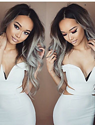 Lace Front Wig Glueless Ombre Two Tone Color Black Grey Heat Resistant Hair Wigs