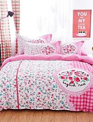 Pink Flower /Bird Bedding Set Of 4pcs For Four Season Use