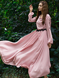 Women's Lace Pink Dresses , Casual Round Long Sleeve