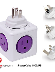Besteye® Allocacoc PowerCube 1900/US Power Outlet with 5 Outlets Wall Adapter Power Strip with Resettable Fuse