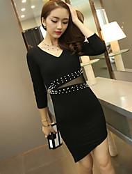 Women's Beads Waist Long Sleeve Asymmetry Dress