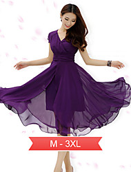 Women's Plus Size Gathered Micro Elastic Midi Chiffon Dress