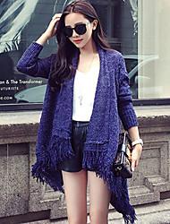 Women's Solid Blue / Black Cardigan , Vintage / Casual Long Sleeve