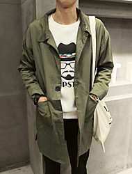 Men's Long Sleeve Long Trench coat , Canvas Pure