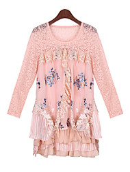 Women's Lace Pink / Beige Dresses , Casual / Lace Round Long Sleeve