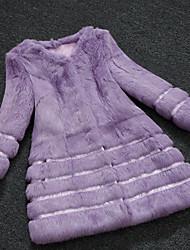 Women Rabbit Fur / Raccoon Fur Top , Belt Not Included