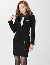 Women's Solid Red / Black Blazer , Sexy / Bodycon / Work Shirt Collar Long Sleeve (Suit + Dress)