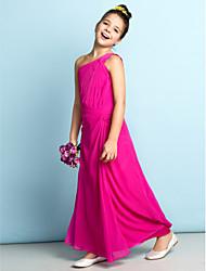 Lanting Bride Ankle-length Chiffon Junior Bridesmaid Dress - Mini Me Sheath / Column One Shoulder with Side Draping