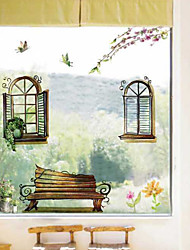 Beautiful Window Garden Chairs Plane Wall Stickers , PVC Removable