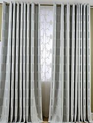 Dois Painéis Tratamento janela Mediterrêneo Europeu Rústico Moderno Neoclassicismo , Geométrico Sala de Estar Mistura de Linho e Poliéster