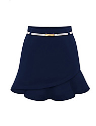 Women's Beautiful Hem Irregular Solid Color Skirts