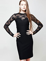Women's Patchwork / Lace Black Dress (lace)