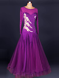 Ballroom Dance Dresses Women's Performance Chinlon / Crepe Crystals/Rhinestones 1 Piece Purple / Royal BlueModern Dance / Performance /