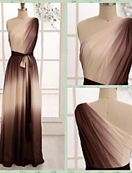 Formal Evening Dress - Brown A-line One Shoulder Floor-length Chiffon