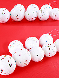 "12PCS/SET 4-6CM/1.6-2.4"" Christmas Tree Decorations Hanging Bubles Foam Snow Ball Party Festival Xmas Ornaments"