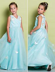 A-line Floor-length Flower Girl Dress - Lace Sleeveless