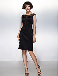 Cocktail Party Dress Sheath / Column Scoop Knee-length Satin with