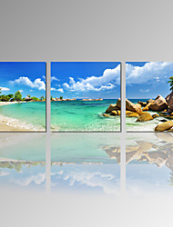 VISUAL STAR®Beach Scenery Picture Print/Seascape Canvas Wall Art/Blue Ocean Print Art Ready to Hang