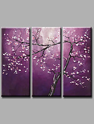 Ready to Hang Hand-Painted Oil Painting on Canvas Wall Art Contempory Abstract Flowers Dark Purple Three Panels