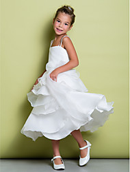 A-line Tea-length Flower Girl Dress - Organza / Taffeta Sleeveless Straps with Tiers